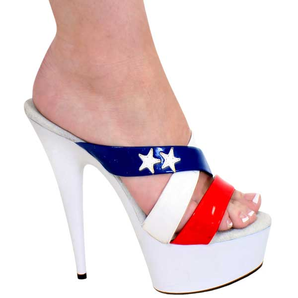 6 Inch High Heel Slip On - Red, White & Blue