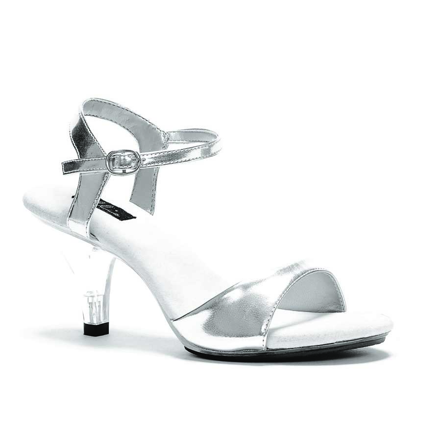 "ES:305-JULIET Silver on Clear 3"" Heel Sandal."