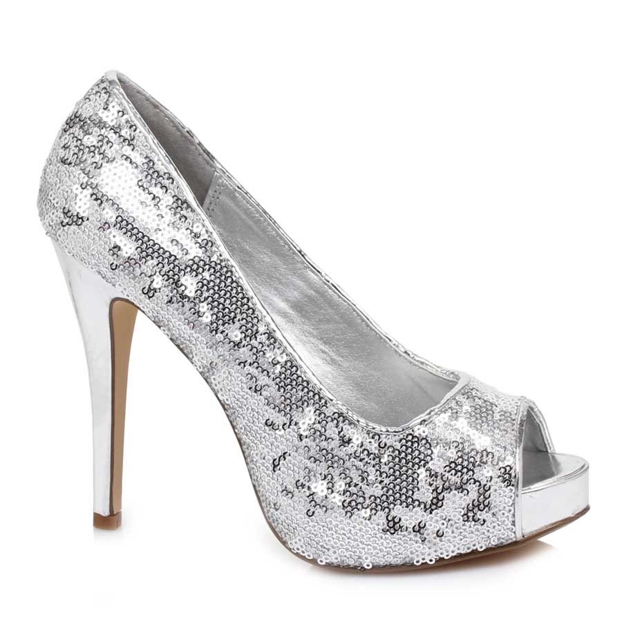 "ES:415-FLAMINGO Silver 4"" heel OPEN TOE GLITTER PUMPS"