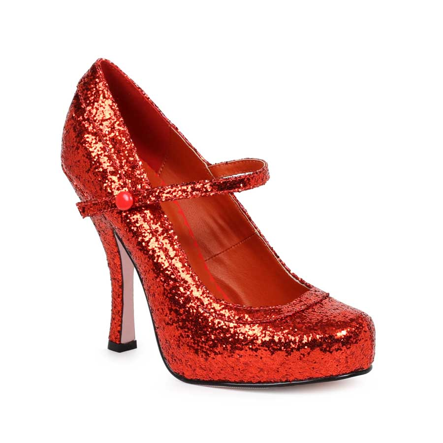 "ES:423-CANDY Red Glitter 4"" Glitter Mary Jane With 1Concealed Pl"