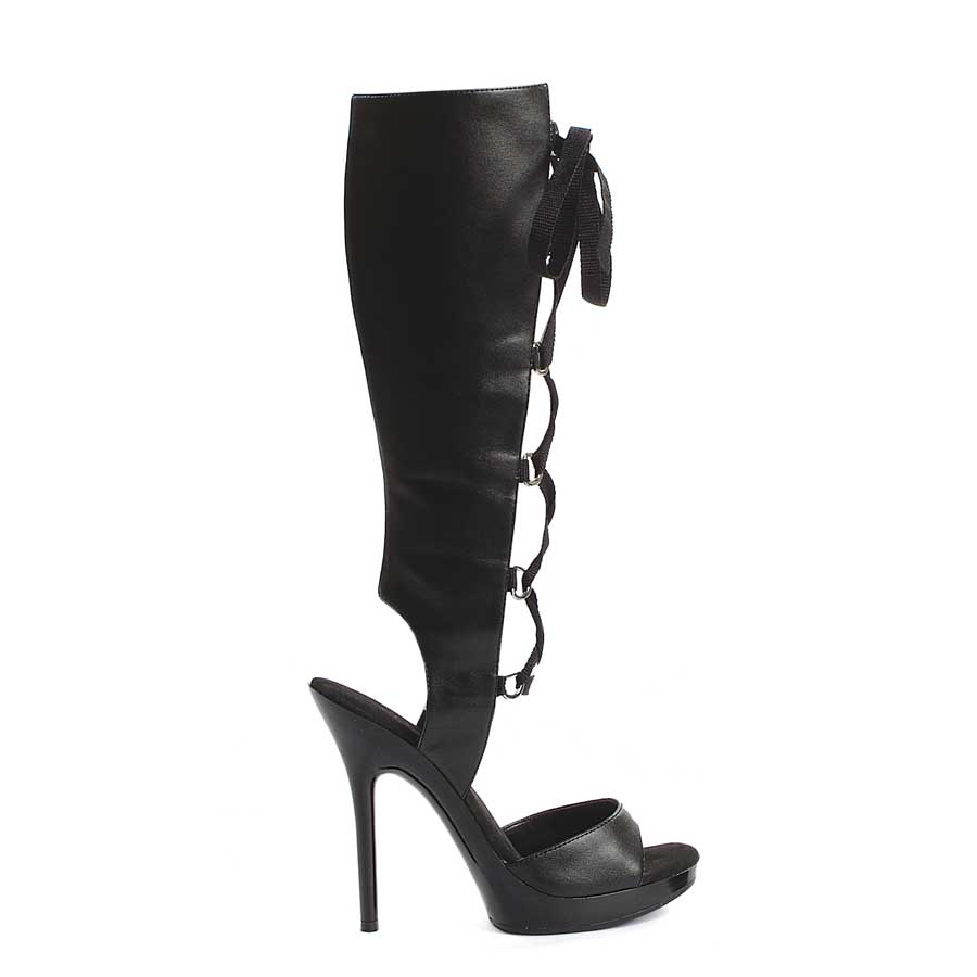 "ES:502-HOLLY Black PU 5"" Heel Knee High Sandal."