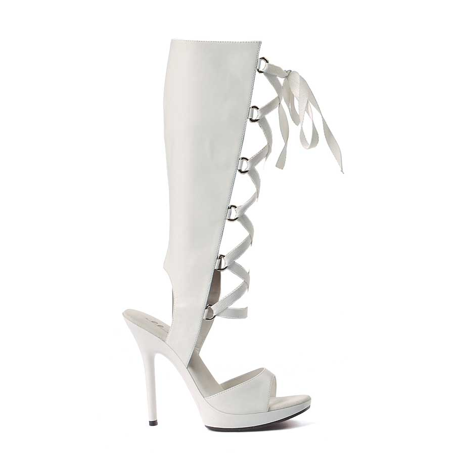 "ES:502-HOLLY White Pu 5"" Heel Knee High Sandal."