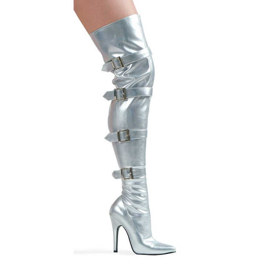 "ES:511-BUCKLEUP Silver 5"" Heel Stretch Thigh Boot W/Buckles & In"