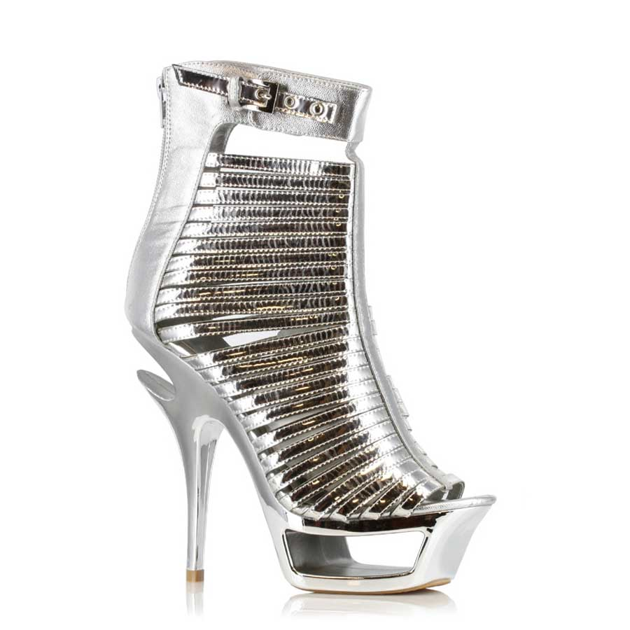 "ES:604-SAMANTHA Silver 6"" Metallic Cut Out Heel"