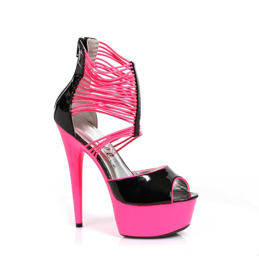"ES:609-ADORE Pink 6"" Neon Stiletto With Elastic Bandd"