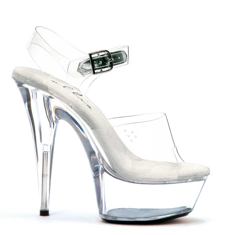 "ES:609-BROOK Clear 6"" Pointed Stiletto Sandal."