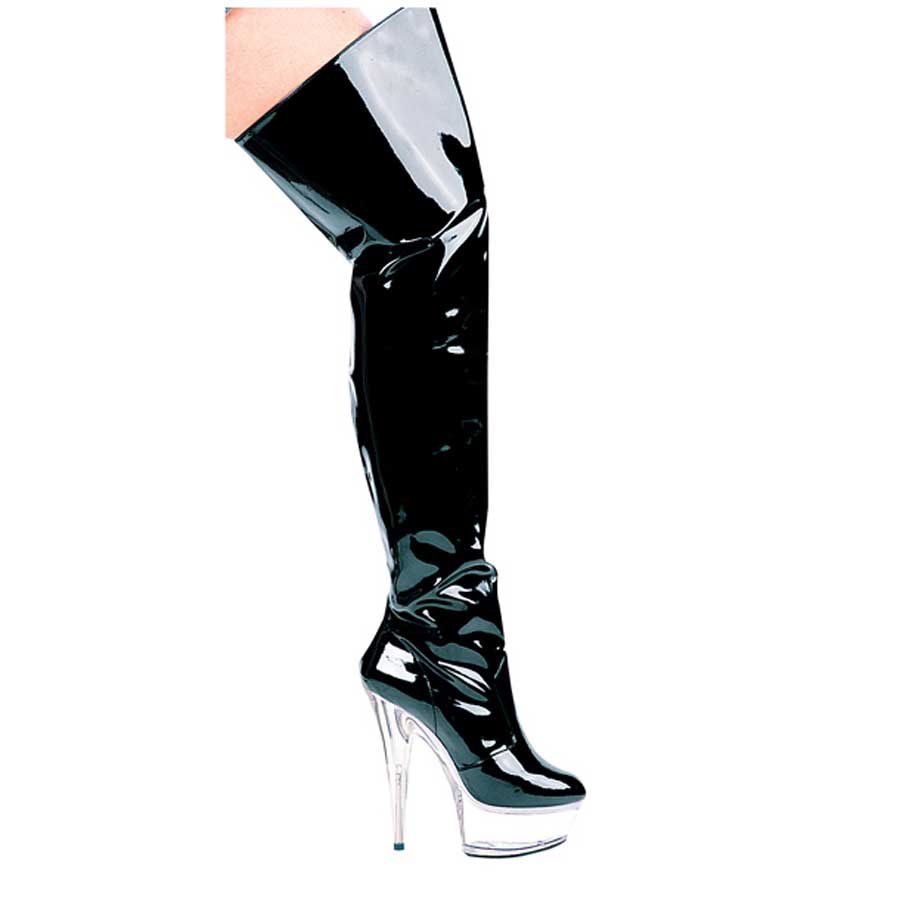 "ES:609-CASINO Black on Clear 6"" Heel Pointed Stilletto Thigh Hig"
