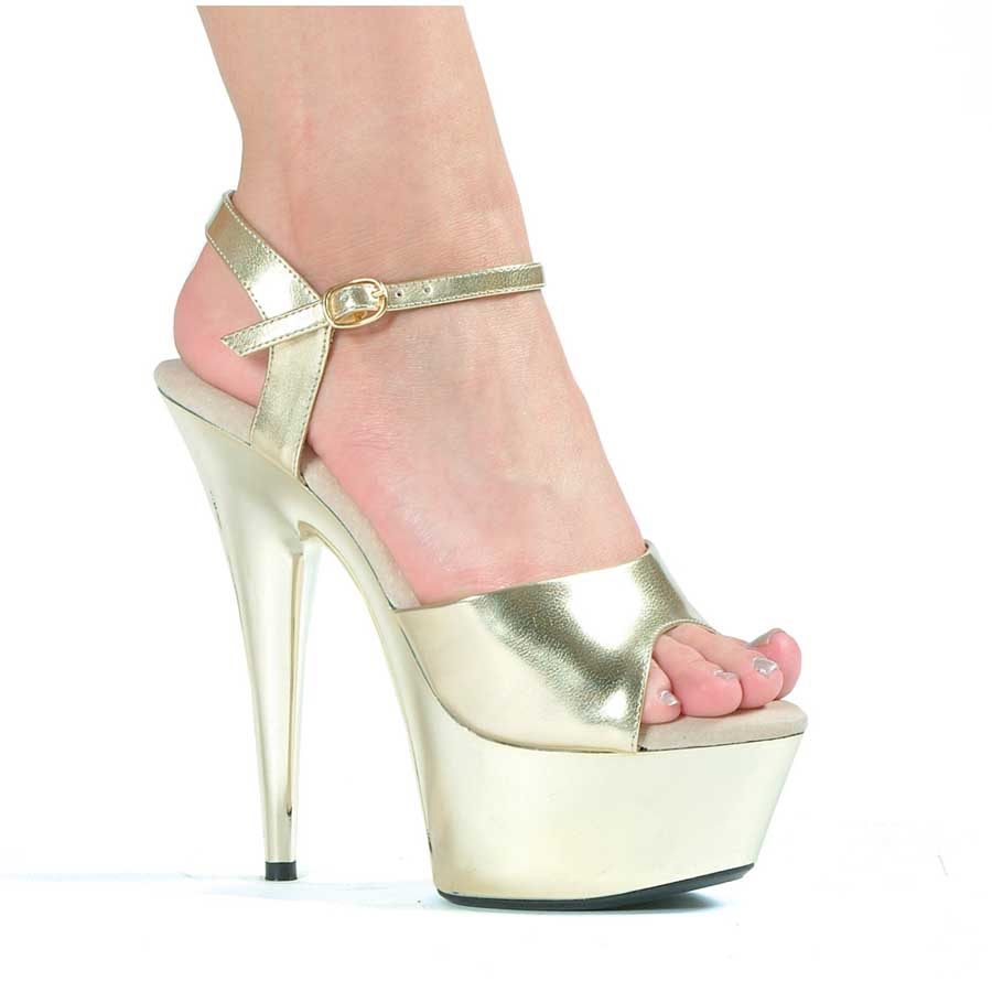 "ES:609-CHROME Gold 6"" Peeptoe Chrome Stiletto Sandal."
