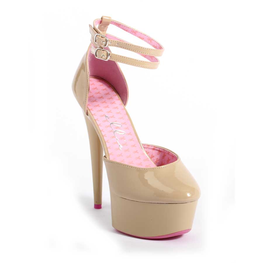 "ES:609-CURISSA Tan 6"" Platform Breast Cancer Awareness Shoe"