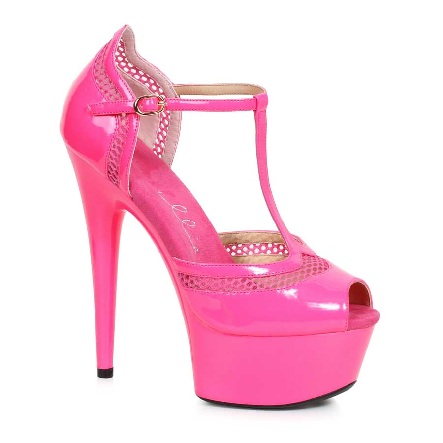 "ES:609-HAILEY Fuchsia 6"" PEEPTOE WITH T STRAP"