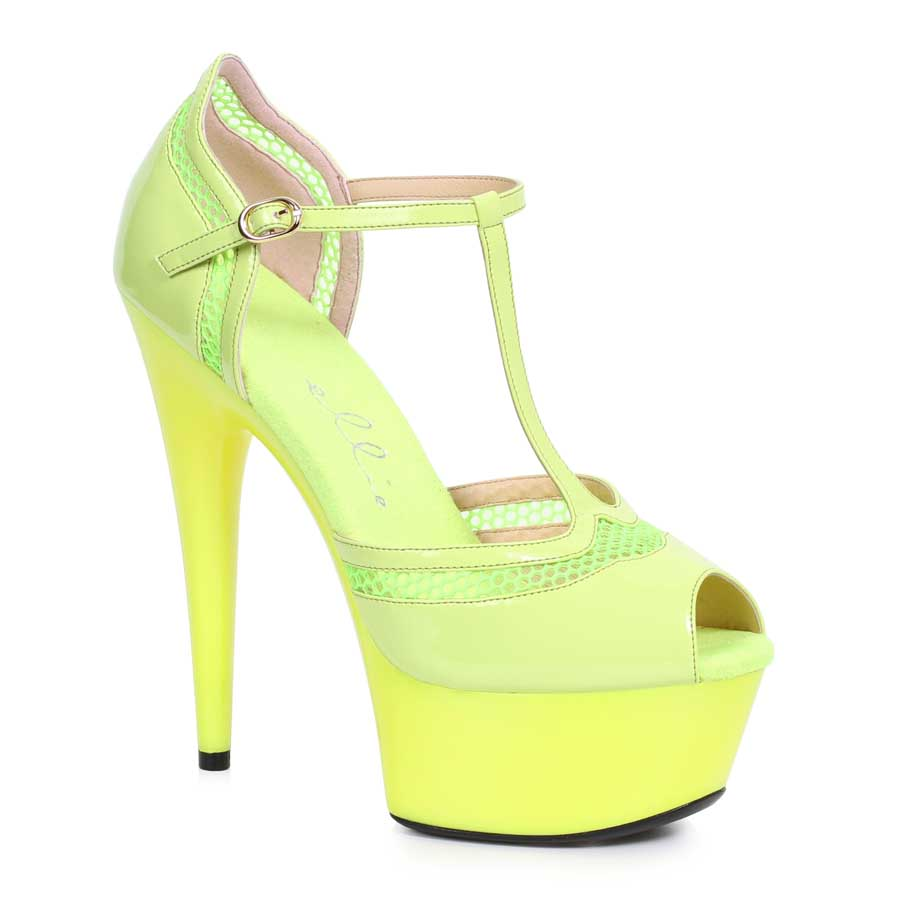 "ES:609-HAILEY Yellow 6"" PEEPTOE WITH T STRAP"
