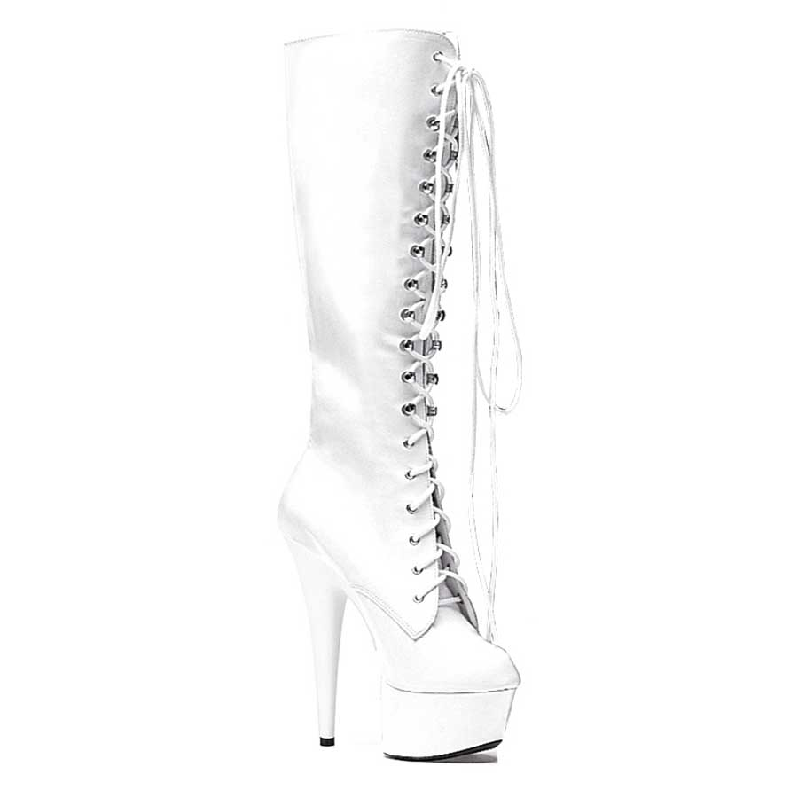 "ES:609-JUNGLE White 6"" Pointed Stiletto Knee Boot W/Inner Zipper"