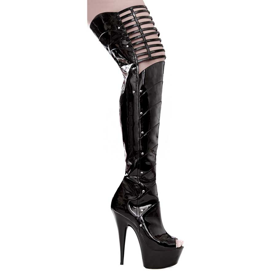 "ES:609-KATRINA BLK 6"" PEEP TOE THIGH HIGH W/ KNEE CUT-OUTS"