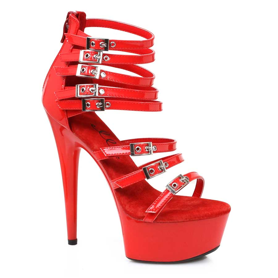 "ES:609-NEVE RED 6"" Platform Stiletto With Multiple Buckles"