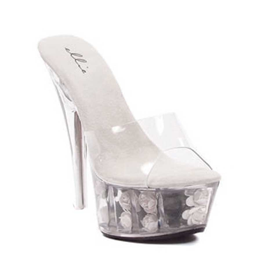 "ES:609-ROSES White 6"" ROSE FILLED PLATFORM WITH CLEAR UPPER AND"