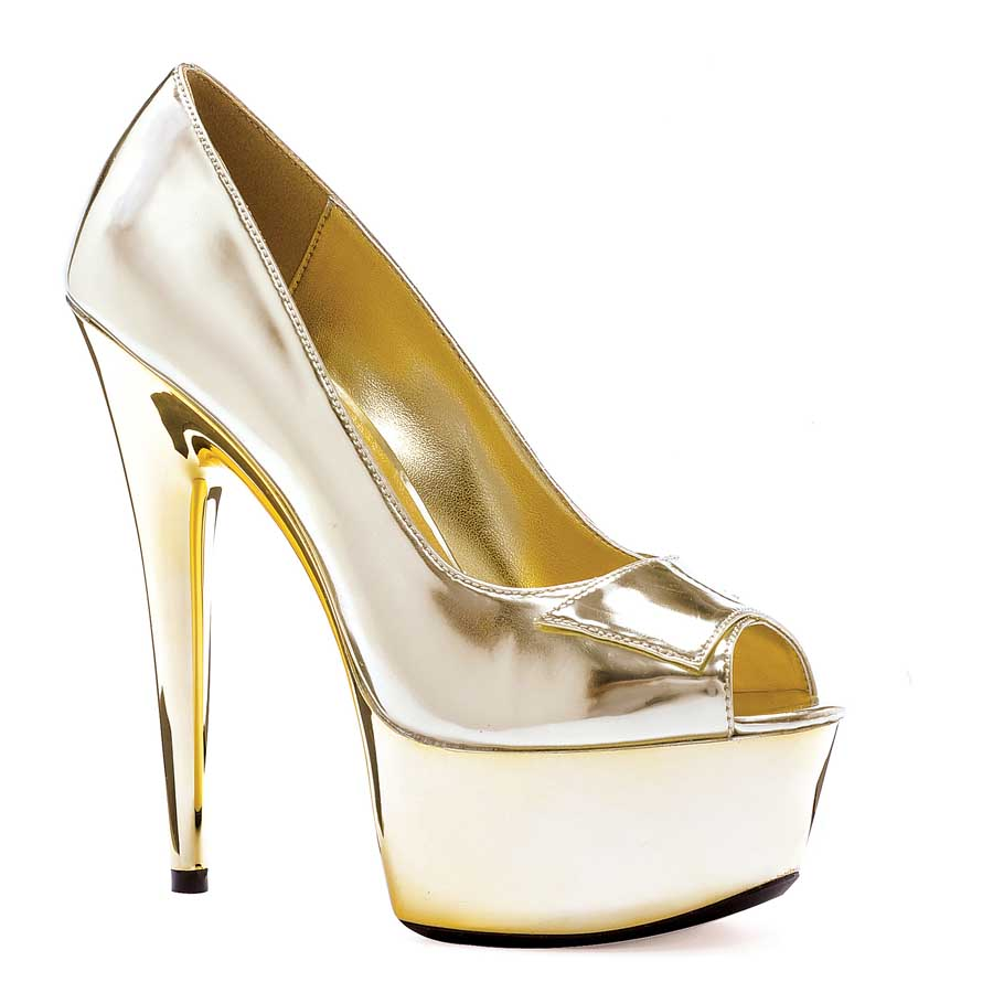 "ES:609-SHINE Gold 6"" Heel Open Toe Pump W/ 2\"" PLATFORM"
