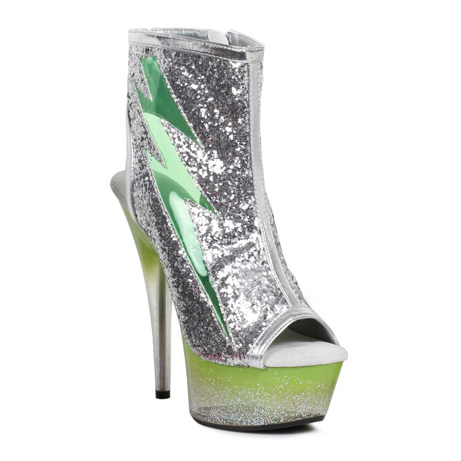 "ES:609-THUNDER Green 6"" Lightning Bolt Light Up Platform Shoe"