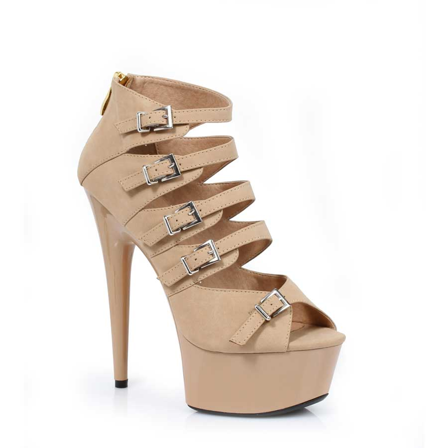 "ES:609-UNA Nude PU 6"" Stiletto In Pu W/ Multi Buckle Accents"