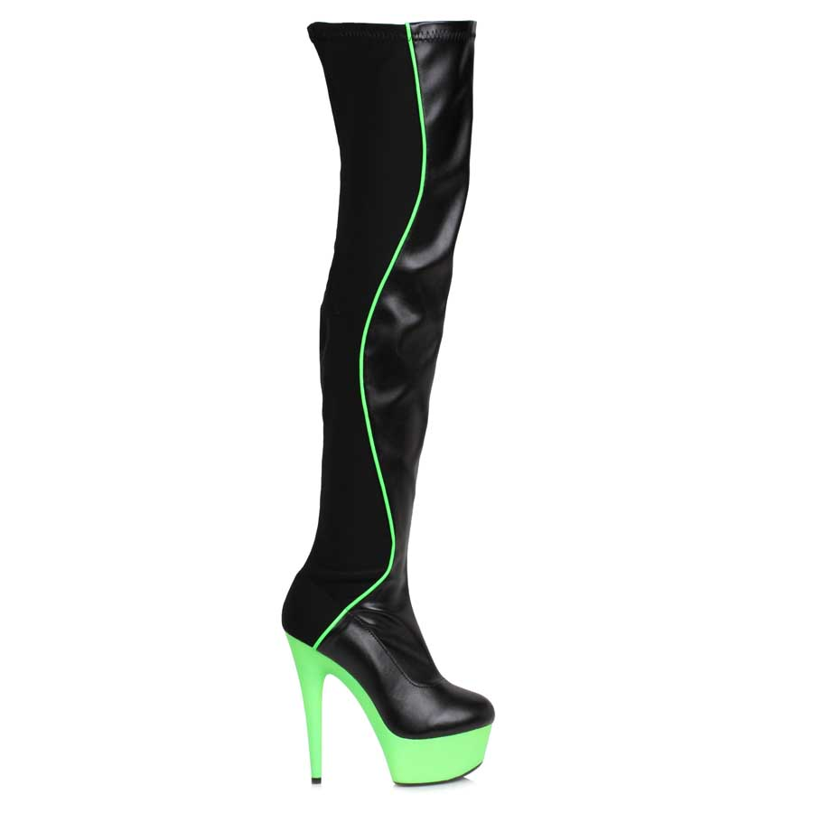 "ES:609-UNIQUE Green 6"" Thigh High Boot"