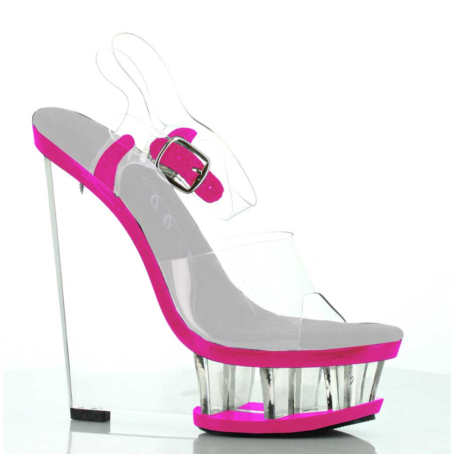 "ES:610-SHANA Fuchsia 6"" Clear And Neon Wedge With Ankle Strap"