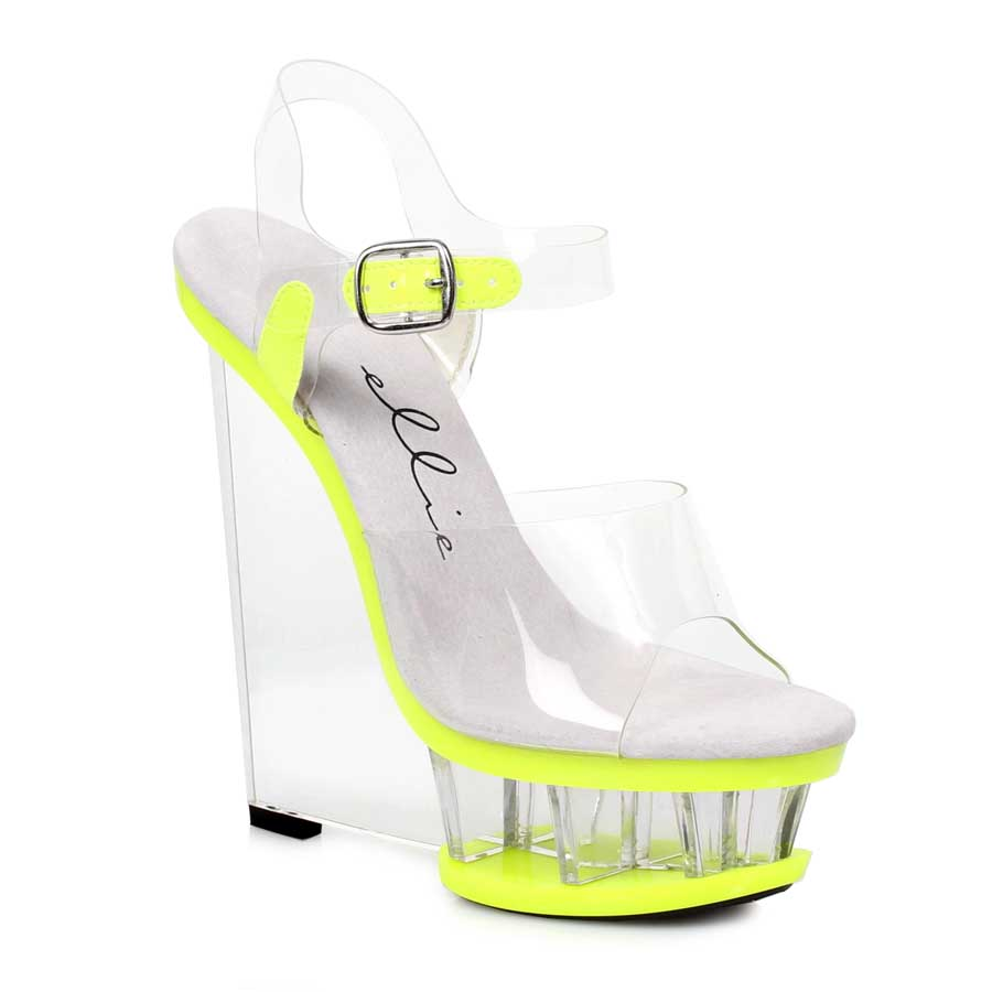 "ES:610-SHANA Yellow 6"" Clear And Neon Wedge With Ankle Strap"