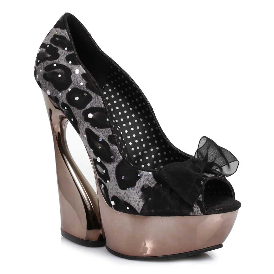 "ES:620-AMADA-L Black w/ White 5"" Curvacious Pump With Lace & Bow"