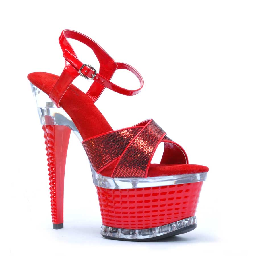 "ES:649-DISCO Red Glitter 6"" CROSSED STRAP TEXTURED PLATFORM"