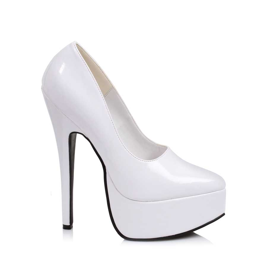 "ES:652-PRINCE White 6.5"" Stiletto Heel Pump."