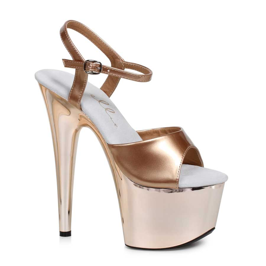 "ES:709-BRIA Bronze 7"" Stiletto W Rose Gold Platform"