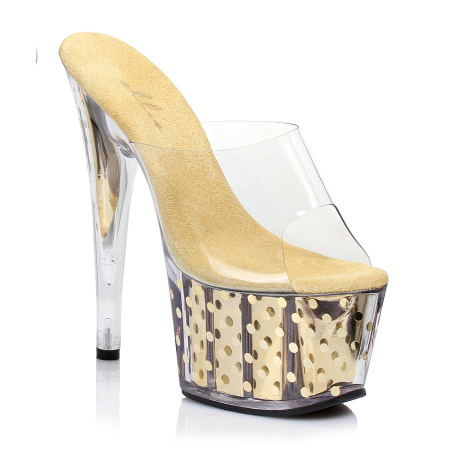 "ES:709-BRIELLE Gold 7"" Mule With Polka Dots"