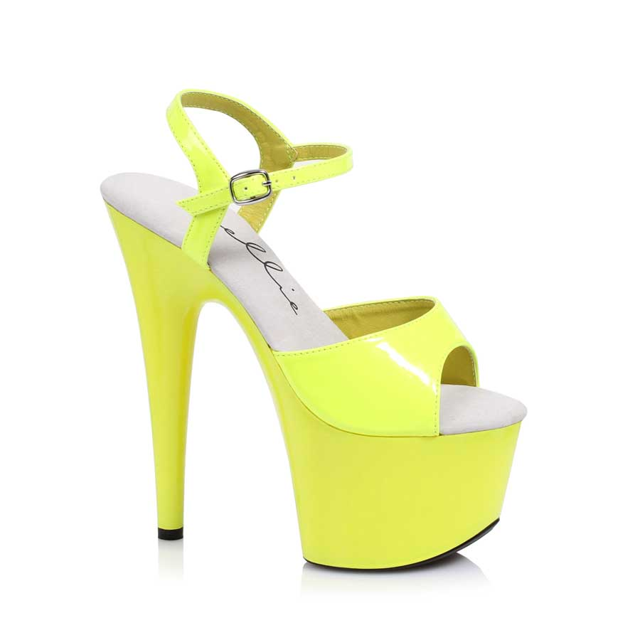 "ES:709-SOLARIS Yellow 7"" Neon Stiletto Sandal."