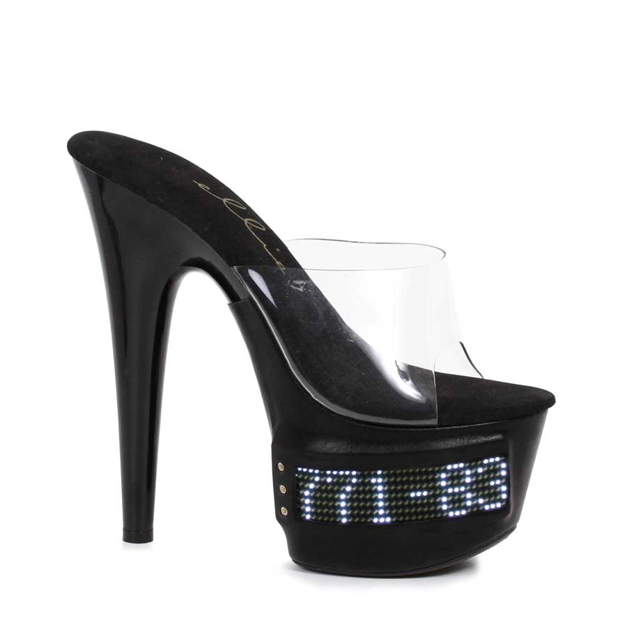 "ES:709-VANITY-LED Clear W/ Black 7"" Pointed Stiletto Mule LED"