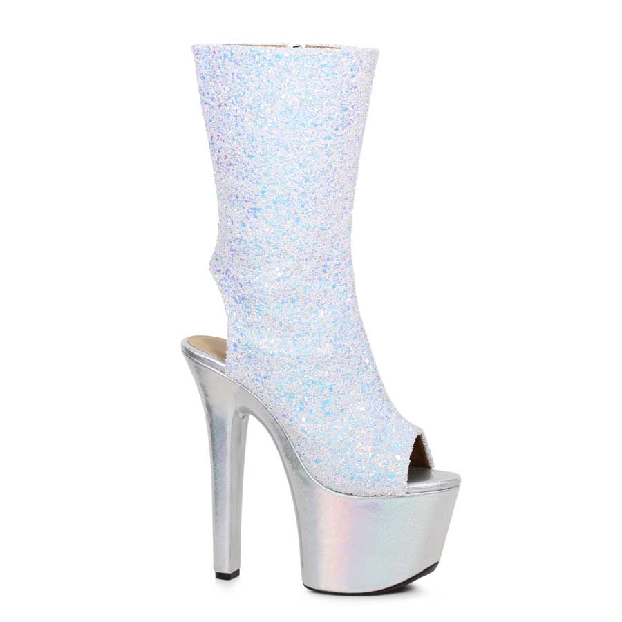 "ES:711-BUTTERCUP White 7"" Glitter Ankle Boot"