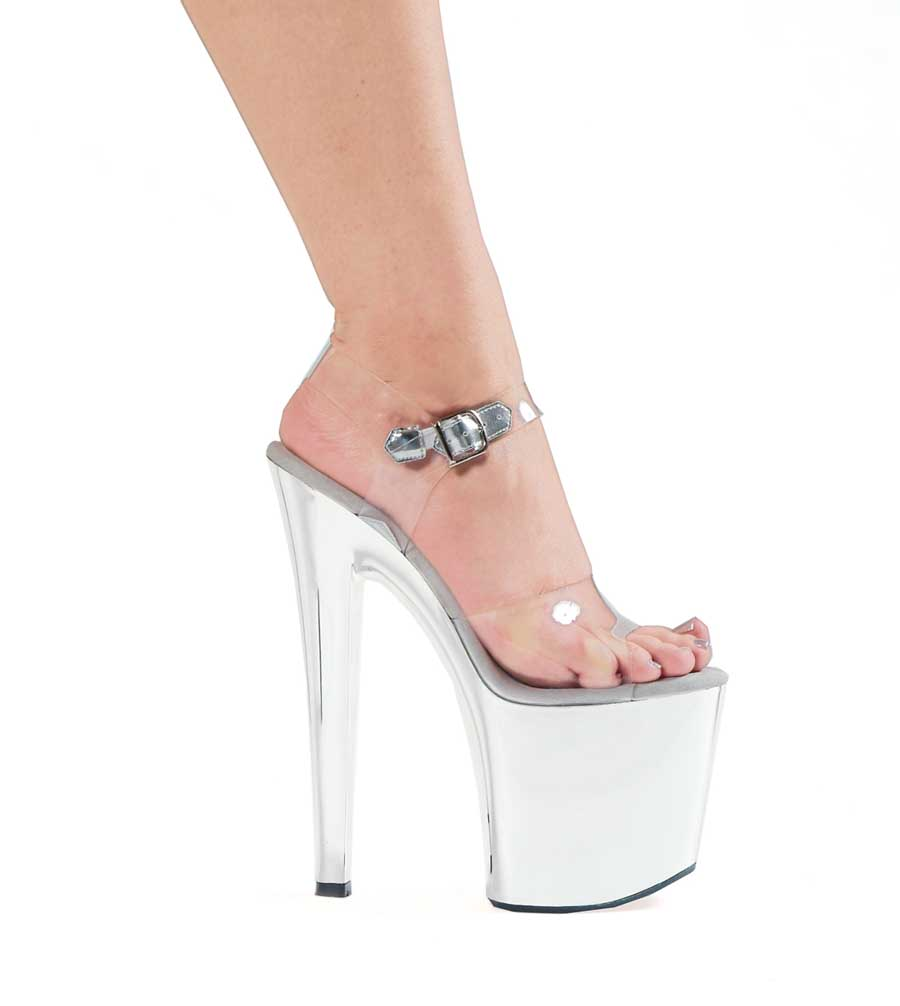 "ES:711-CHROME Clear W/Silver 7"" Heel Chrome Sandal."