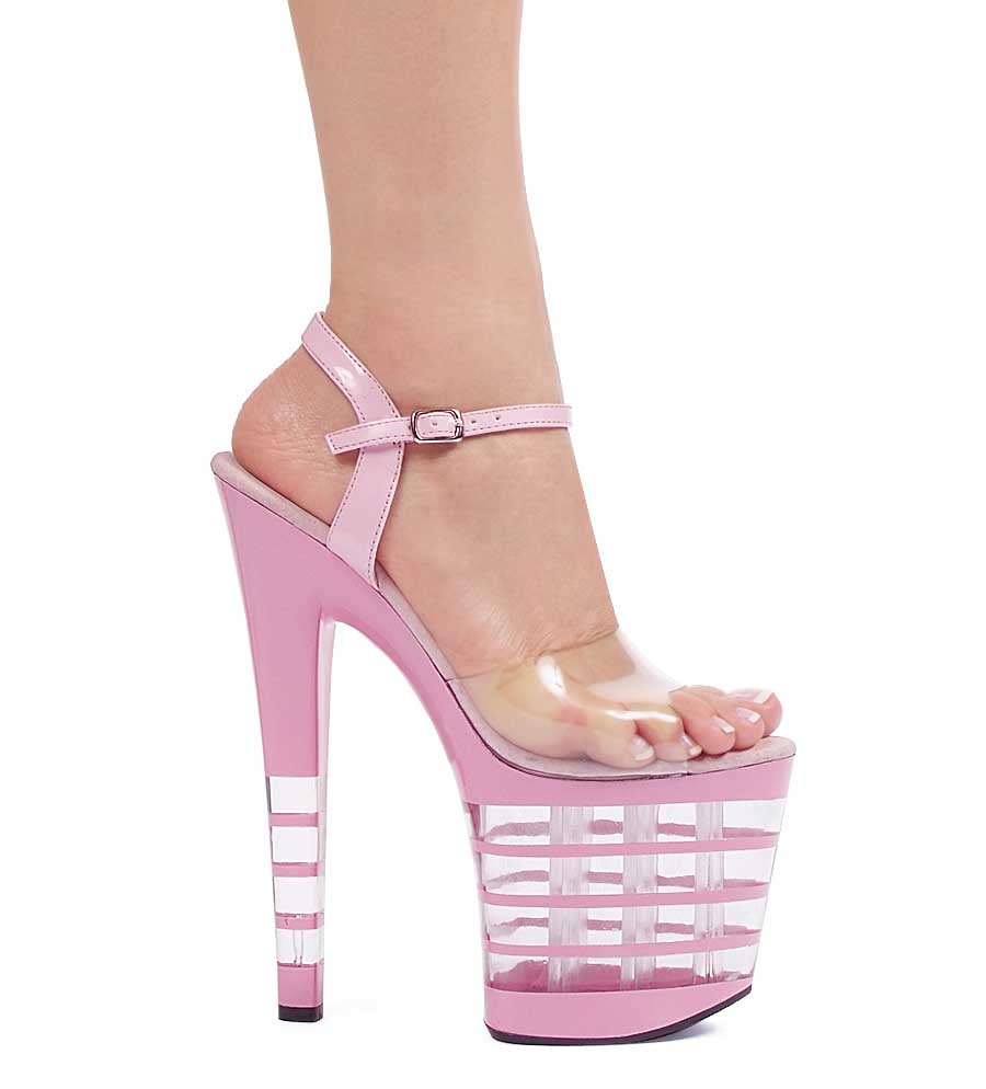 "ES:821-STACK Pink 8"" Pointed Stiletto Mule."