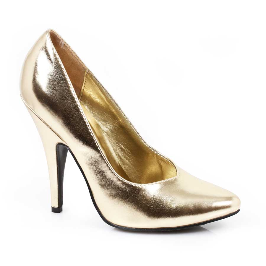"ES:8220"" Gold 5\"" Heel Pumps."