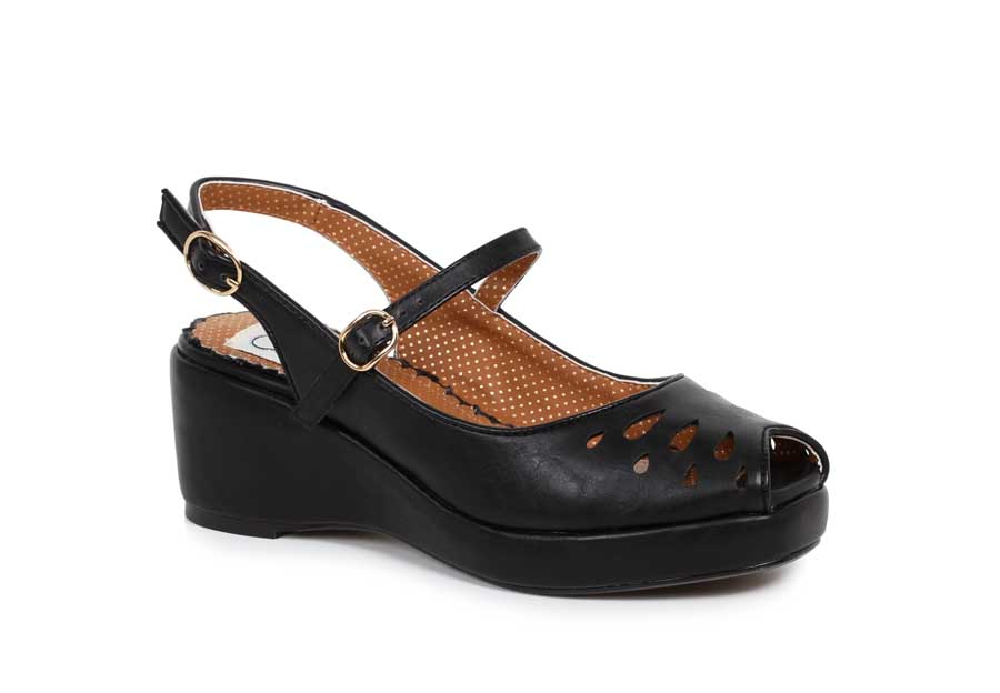 ES:BP242-FAYE BLK Peep Toe Sling Back Wedge