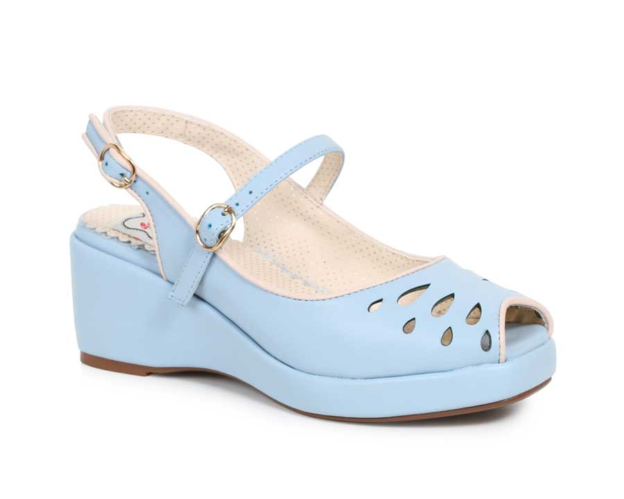 ES:BP242-FAYE Blue Peep Toe Sling Back Wedge