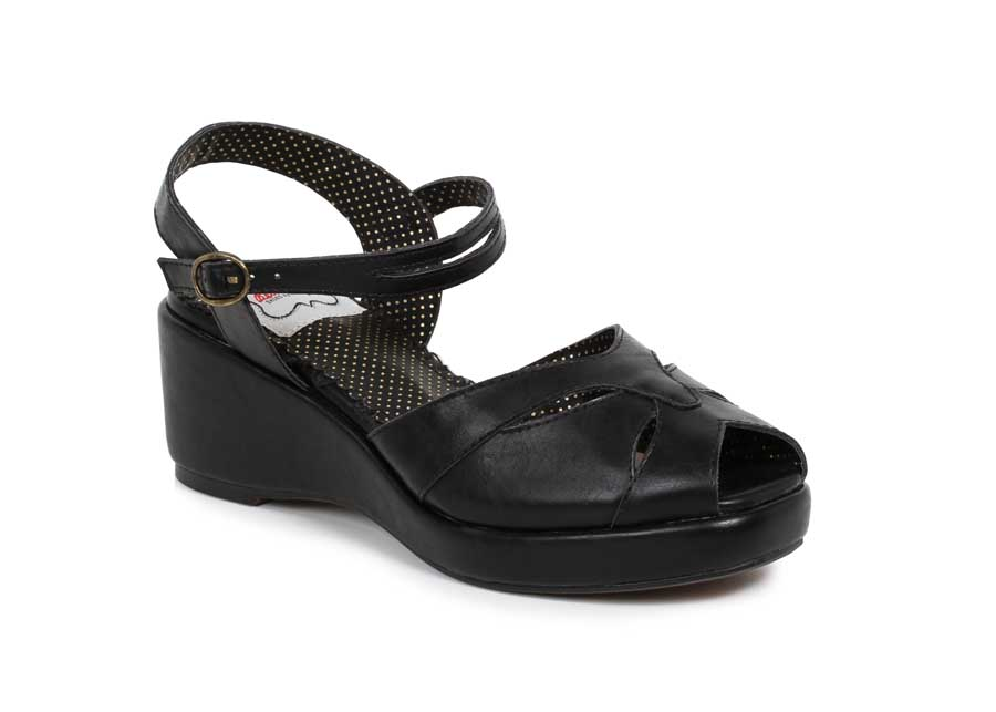 "ES:BP242-NILEY BLK 2"" Peep Toe Wedge"