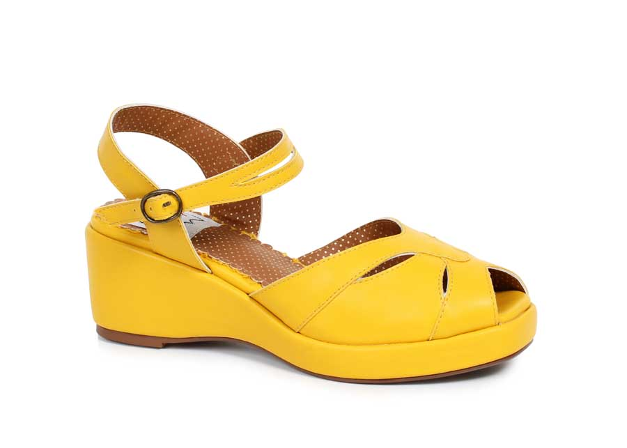 "ES:BP242-NILEY Yellow 2"" Peep Toe Wedge"