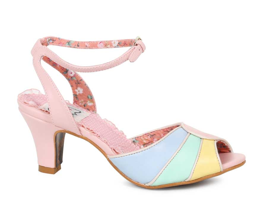 "ES:BP250-ABELA Pink 2.5"" Tri Color Peep Toe Sandal"