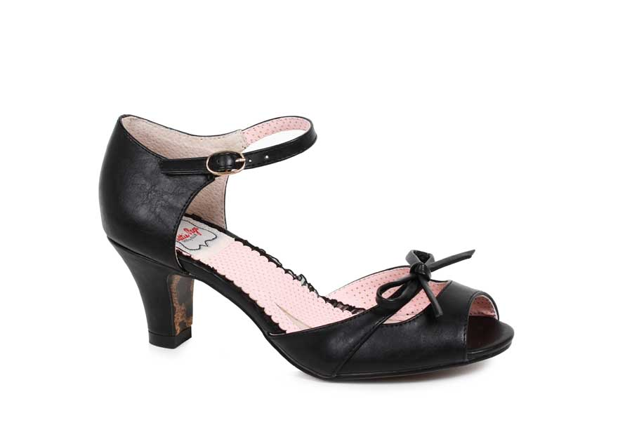 "ES:BP250-TEGAN BLK 2"" Peep Toe Sandal With Bow Detail"