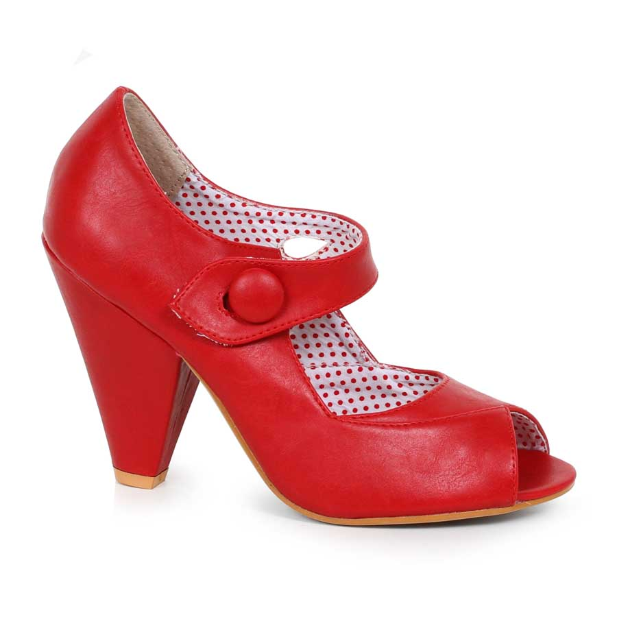 "ES:BP403-SHELLY RED 4"" Peep Toe Heel With Button Detal Closure"