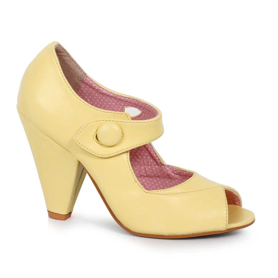"ES:BP403-SHELLY Yellow 4"" Peep Toe Heel With Button Detal Closur"