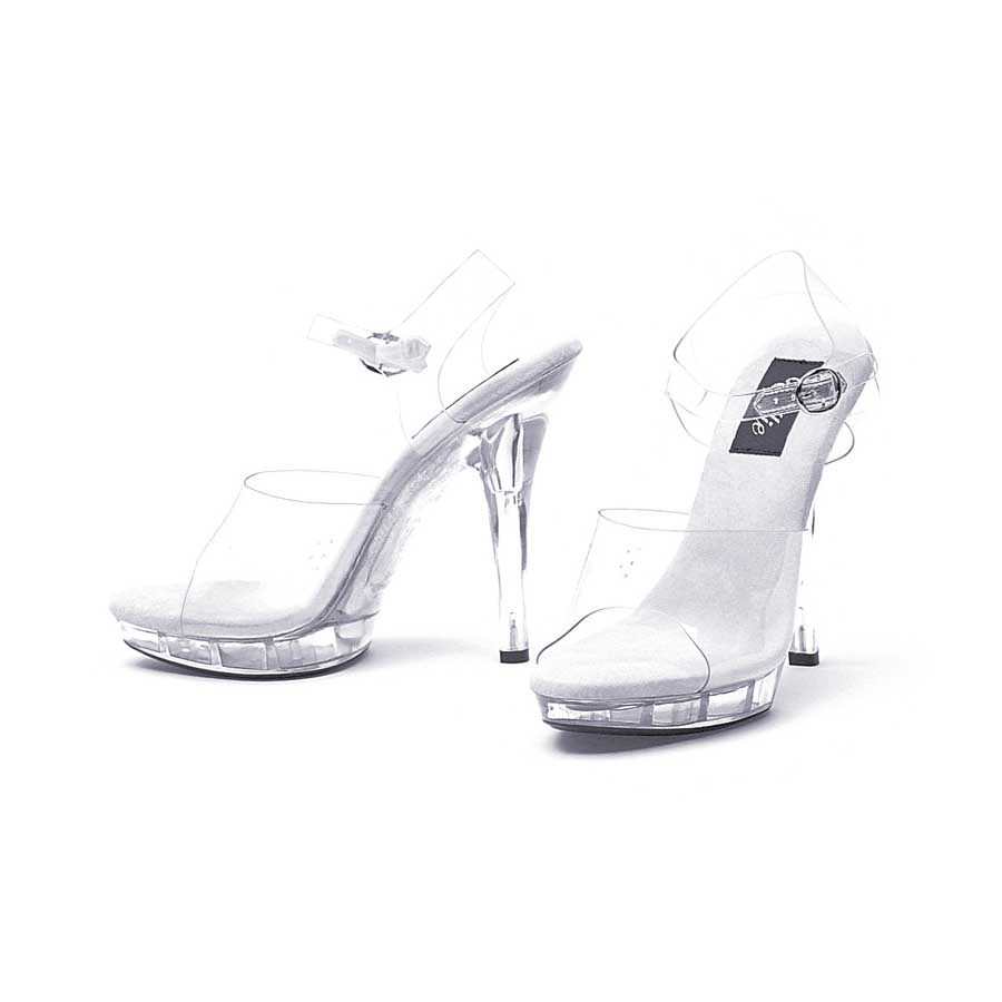 "5"" Stiletto Heel Clear Sandal with Straps with .75\"" Platform."