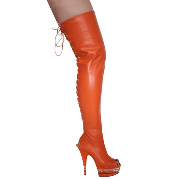 "6"" inch Orange Leather Thigh High Boot"