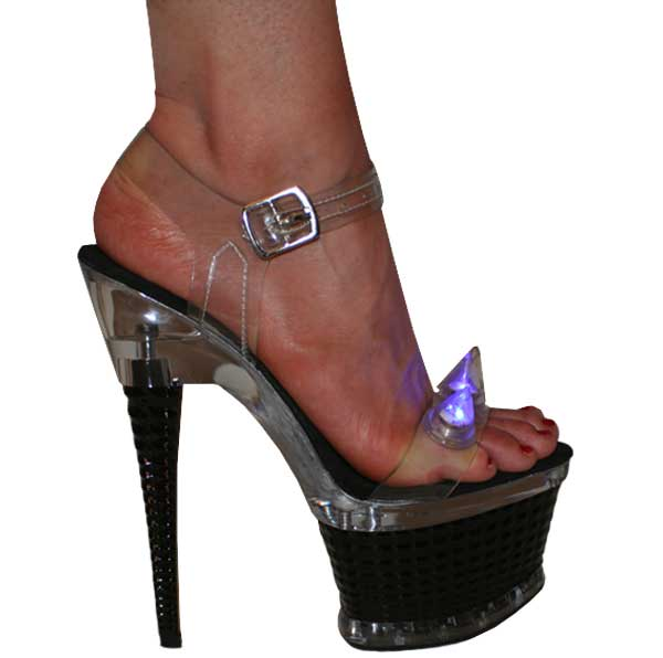 "Clear with blue light spike on a 7"" julie high heel platform"