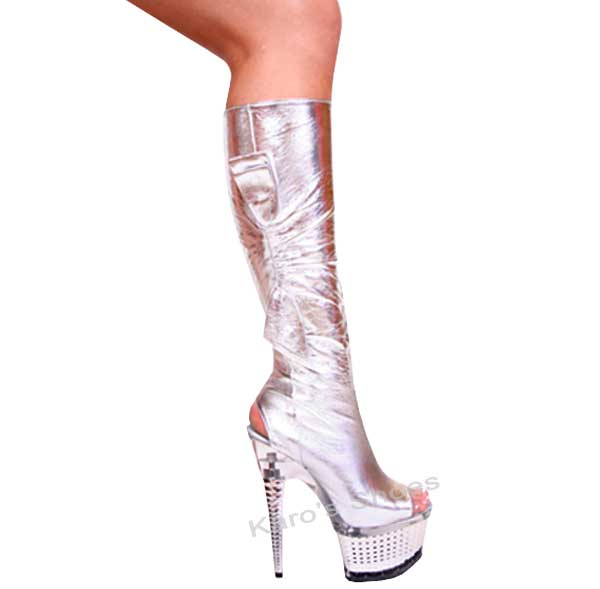 7 Inch Silver Diamond Shaped Stiletto Heel Knee Boots