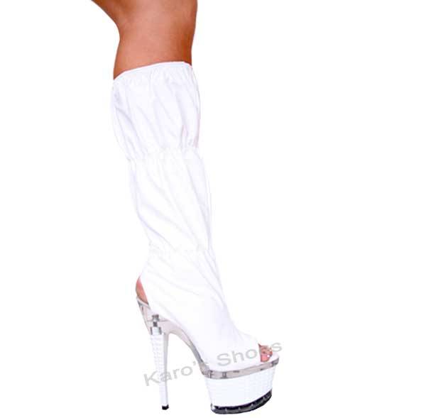 7 Inch White Diamond Shaped Stiletto Heel Knee Gathered Boots