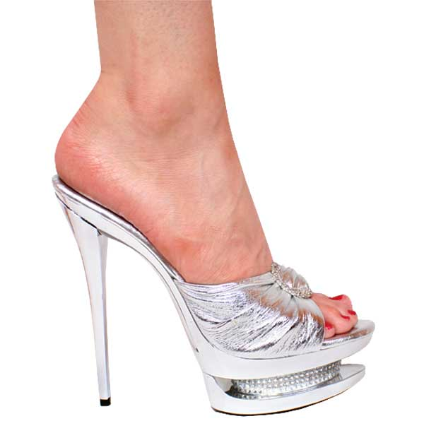 "6"" inch Metallic Silver Leather Platform Slip-on by Vicaro"